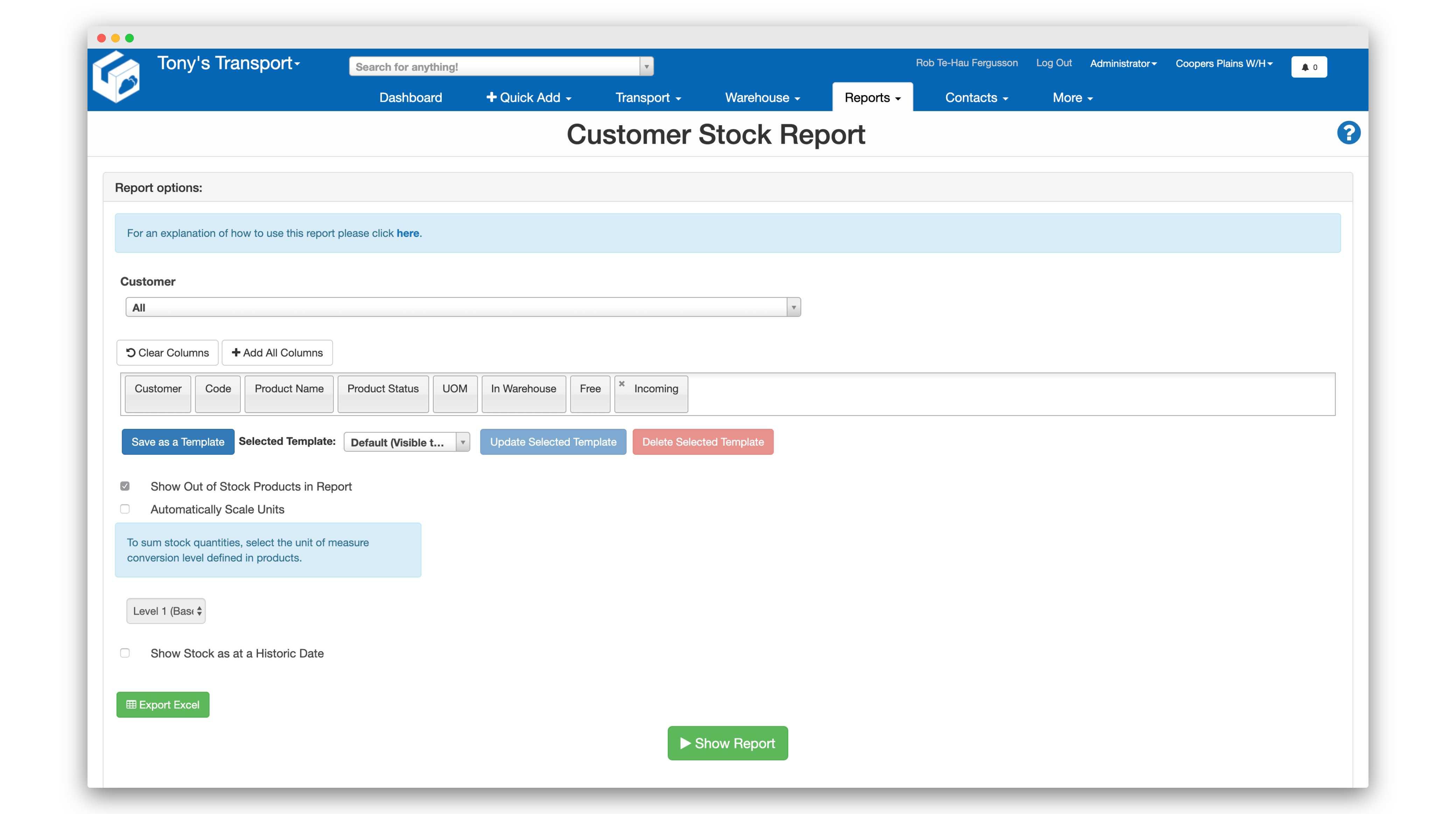 Customer_Stock_Report